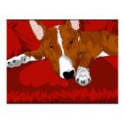 Lazy English Bull Terrier Dog Breed Illustration Postcard