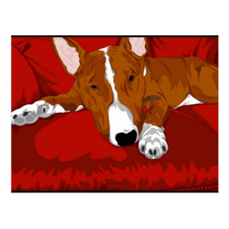 Lazy English Bull Terrier Dog Breed Illustration Postcard