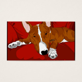 Lazy English Bull Terrier Pet Sitter Business Card