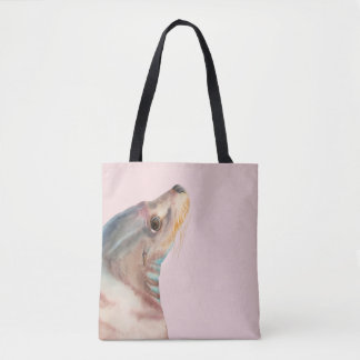 Lazy Glance | Sea Lion Watercolor Illustration Tote Bag