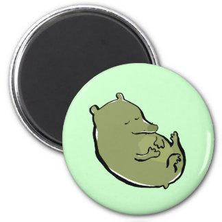 lazy green animal 2 inch round magnet