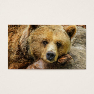 Lazy Grizzly Bear Business Card