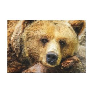 Lazy Grizzly Bear Canvas