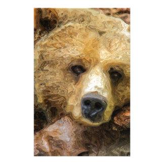 Lazy Grizzly Bear Stationery
