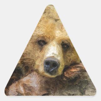 Lazy Grizzly Bear Triangle Sticker