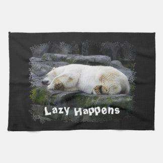 Lazy Happens Polar Bear Hand Towel