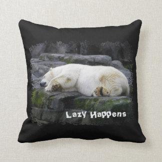 Lazy Happens Polar Bear Throw Pillow