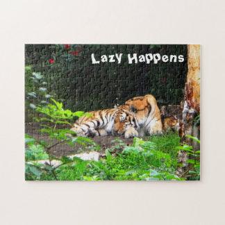 Lazy Happens Siberian Tiger Jigsaw Puzzle