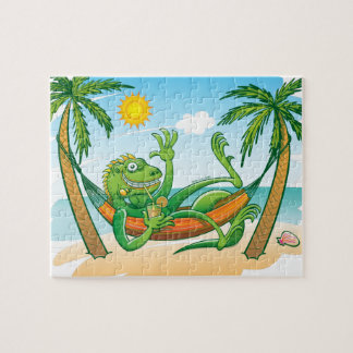 Lazy Iguana Summer on the Beach Jigsaw Puzzle