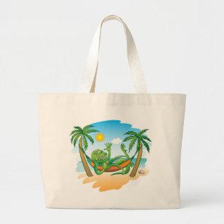 Lazy Iguana Summer on the Beach Jumbo Tote Bag