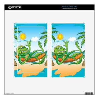 Lazy Iguana Summer on the Beach Kindle Fire Skins