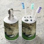 Lazy Lion Toothbrush Holder and Soap Dispenser Set