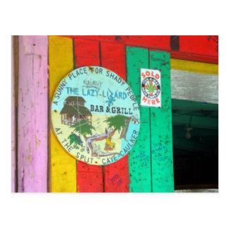 Lazy Lizard Sign on Caye Caukler Belize Postcard