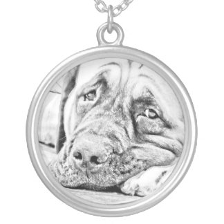 Lazy Mastiff Silver Plated Necklace