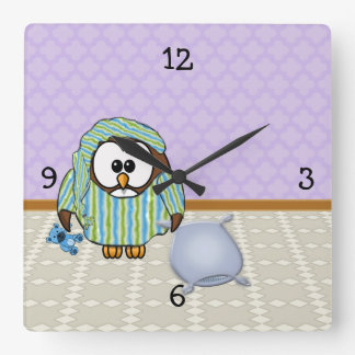 lazy owl - I don't do Mondays! Square Wall Clock