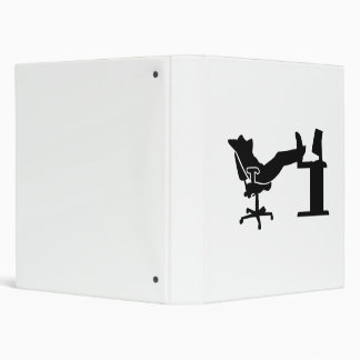 Lazy relaxing office worker 3 ring binder
