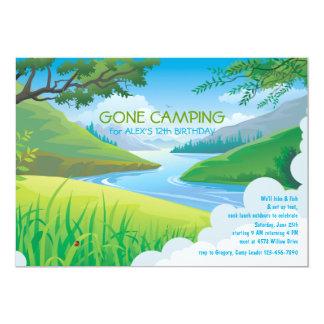 "Lazy River Camping Birthday Invitation 5"" X 7"" Invitation Card"