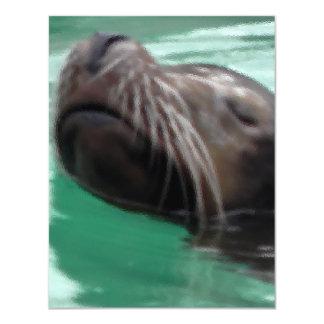 Lazy Sea Lion Art 4.25x5.5 Paper Invitation Card