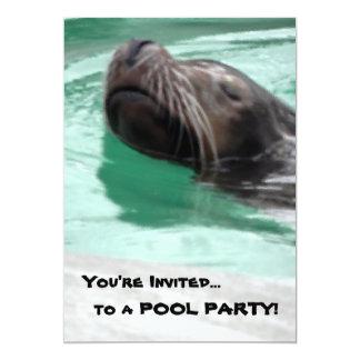 Lazy Sea Lion Art 5x7 Paper Invitation Card