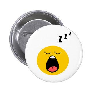 Lazy sleeping smiley pinback button
