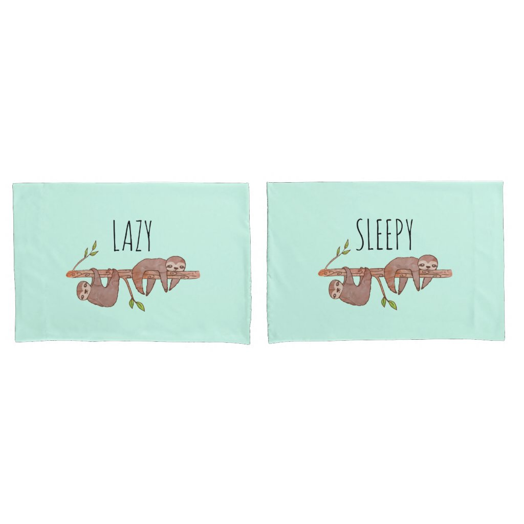 Lazy & Sleepy Cute Couples Design, Reversible Pillowcase