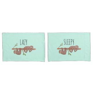 Lazy & Sleepy Cute Couples Design, Reversible Pillowcase