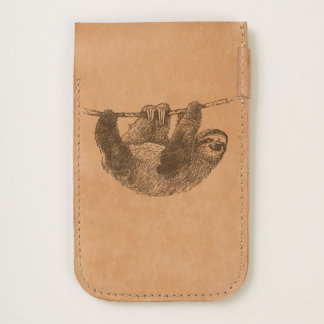 Lazy Sloth Leather iPhone Phone Pouch