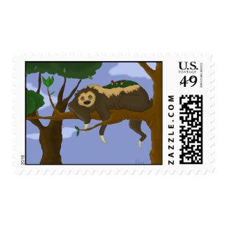 Lazy Sloth Postage Stamp