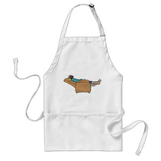 Lazy Susan reading a book funny apron design