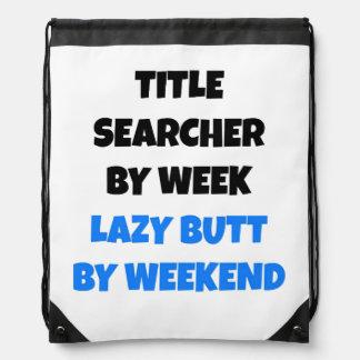 Lazy Title Searcher Joke Drawstring Backpacks