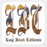 LBC - Long Beach California - océano Pegatina Cuadrada