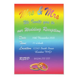 LBGT LESBIAN RAINBOW WEDDING RECEPTION INVITATION