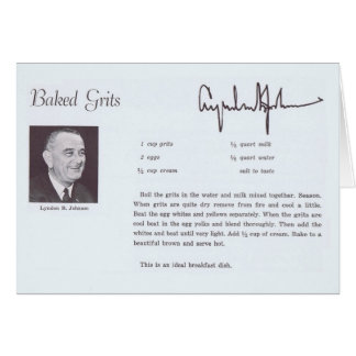 LBJ Baked Grits Recipe Card