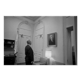 LBJ Looking At FDR -- American History Poster
