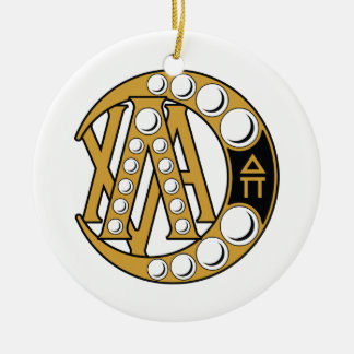 LCA Badge Gold Double-Sided Ceramic Round Christmas Ornament