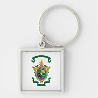 LCA Coat of Arms Color Silver-Colored Square Keychain