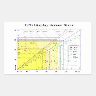 LCD Display Screen Sizes Chart Rectangular Sticker