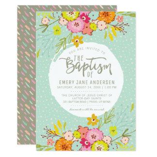 LDS BAPTISM INVITATION | Modern Bright Floral Girl
