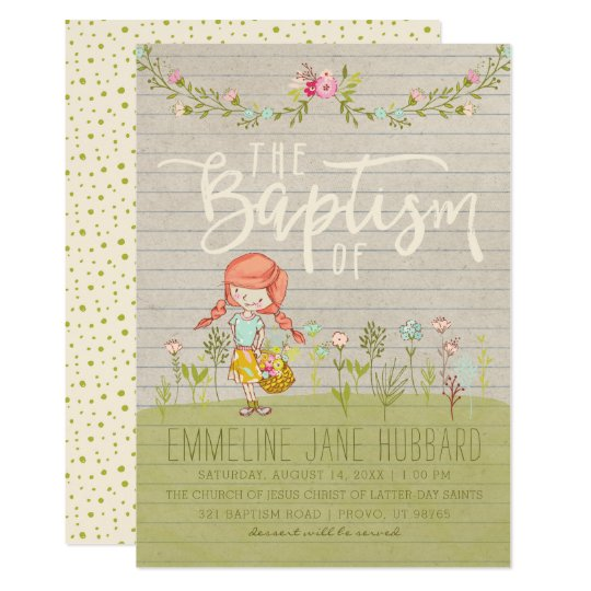 LDS BAPTISM INVITATION | Spring Flowers Happy Girl | Zazzle.com