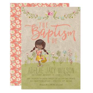 LDS BAPTISM INVITATION | Sweet Vintage Floral Girl