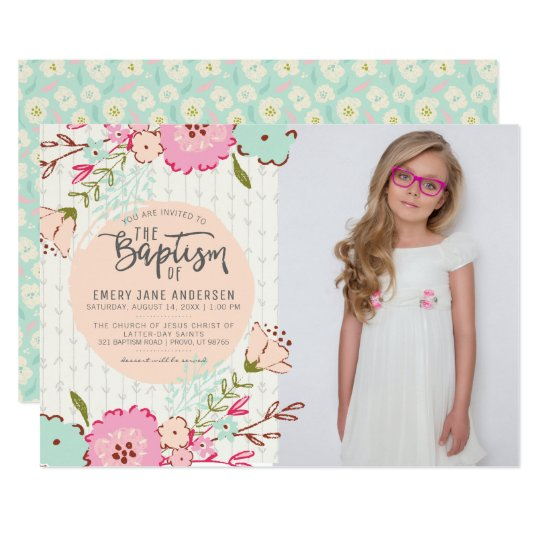 Lds Baptism Photo Invitation Elegant Floral Girl Zazzle Com