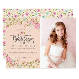 LDS BAPTISM PHOTO INVITATION | Elegant Pink Girl