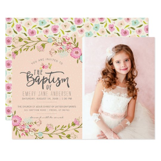 Lds Baptism Photo Invitation Elegant Pink Girl Zazzle Com