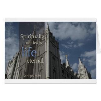 """LDS cita """"Minded es espiritual eterno de vida """" Tarjeta De Felicitación"""