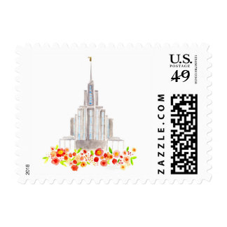 LDS Oquirrh Temple Watercolor postage Stamp