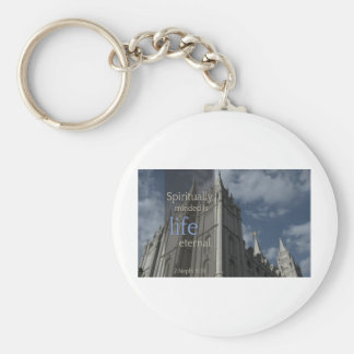 "LDS Quotes ""Spiritually Minded is Life Eternal"" Basic Round Button Keychain"