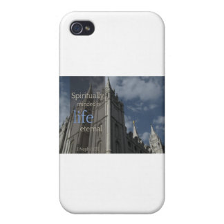 """LDS Quotes """"Spiritually Minded is Life Eternal"""" Covers For iPhone 4"""