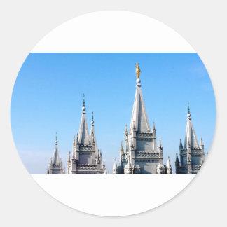 lds salt lake city temple angel moroni classic round sticker