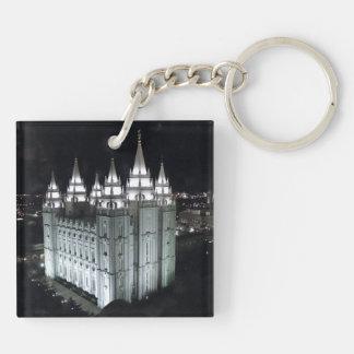 LDS Salt Lake City Temple at Night Keychain