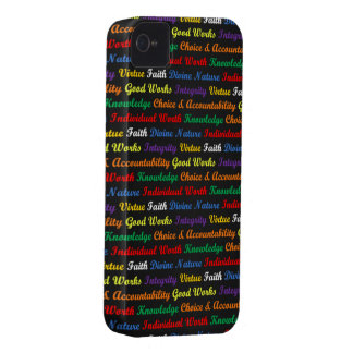 LDS Young Women Values, Coloured on Black iPhone 4 Cases